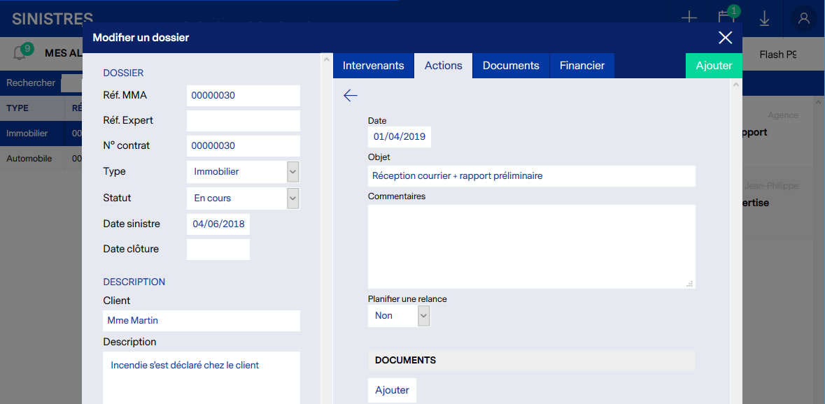 Application de gestion de sinistres assurances : suivi des actions