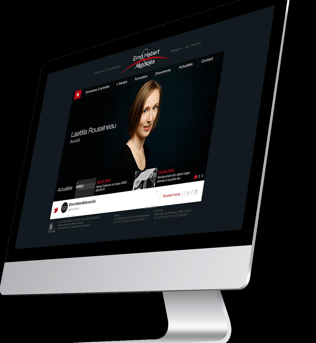 Site internet du cabinet d'avocats Emo Hébert